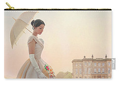 Victorian Woman With Parasol And Fan Carry-all Pouch by Lee Avison