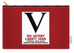 Carry-all Pouch featuring the mixed media Victory Liberty Loan Industrial Honor Emblem by War Is Hell Store