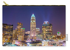 View Of Charlotte Skyline Aerial At Sunset Carry-all Pouch
