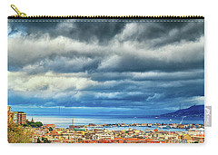 Carry-all Pouch featuring the photograph View Of Messina Strait Sicily With Dramatic Sky by Silvia Ganora