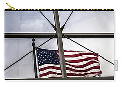 View Of The American Flag Through The Glass Dome Of The Overture Center Carry-all Pouch