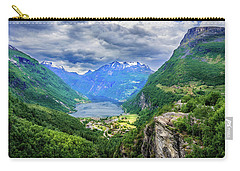 Carry-all Pouch featuring the photograph View On Geiranger From Flydalsjuvet by Dmytro Korol