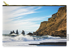 Carry-all Pouch featuring the photograph Vik Reynisdrangar Beach And Ocean Iceland by Matthias Hauser