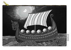 Carry-all Pouch featuring the digital art Viking Ship_bw by Megan Dirsa-DuBois