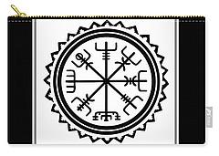 Carry-all Pouch featuring the digital art Viking Vegvisir Protection Compass by Vagabond Folk Art - Virginia Vivier