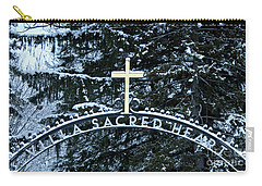 Carry-all Pouch featuring the photograph Villa Sacred Heart Winter Retreat Golden Cross by John Stephens