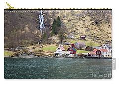 Carry-all Pouch featuring the photograph Village On A Fjord by Suzanne Luft