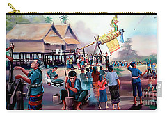 Village Rocket Festival-vintage Painting Carry-all Pouch by Ian Gledhill