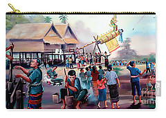 Village Rocket Festival-vintage Painting Carry-all Pouch