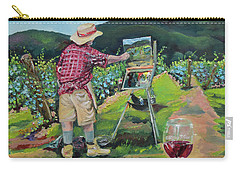 Vineyard Plein Air Painting - We Paint With Wine Carry-all Pouch by Jan Dappen