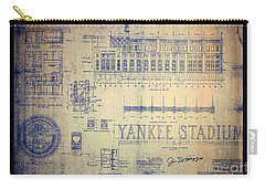 Carry-all Pouch featuring the drawing Vintage 1920s Art Deco Yankee Stadium Blueprint Autographed By Joe Dimaggio by Peter Gumaer Ogden