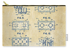 Carry-all Pouch featuring the digital art Vintage 1961 Lego Brick Patent Art by Nikki Marie Smith