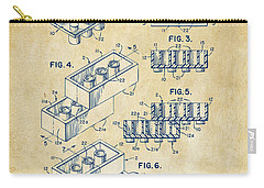 Carry-all Pouch featuring the drawing Vintage 1961 Toy Building Brick Patent Art by Nikki Marie Smith