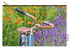 Carry-all Pouch featuring the photograph Vintage Bike In Lavender by Patricia Davidson