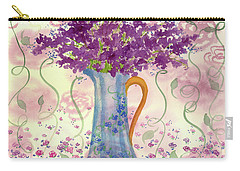Carry-all Pouch featuring the painting Vintage Blue Flower Bouquet by Cathie Richardson