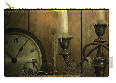 Vintage Books With Candles And An Old Clock Carry-all Pouch
