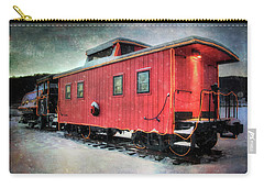 Carry-all Pouch featuring the photograph Vintage Caboose - Winter Train by Joann Vitali