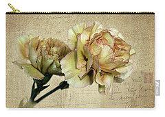 Vintage Carnations Carry-all Pouch by Judy Vincent