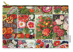 Vintage Childs Nursery Flower Seed Packets Mosaic  Carry-all Pouch