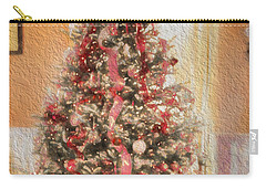 Carry-all Pouch featuring the photograph Vintage Christmas Tree In Classic Crimson Red Trim by Shelley Neff