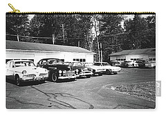Carry-all Pouch featuring the photograph Vintage Classic Cars In Black And White by Trina Ansel