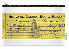 Carry-all Pouch featuring the drawing Vintage Dallas Bank Check Signed By Jack Ruby Killer Of Lee Harvey Oswald by Peter Gumaer Ogden