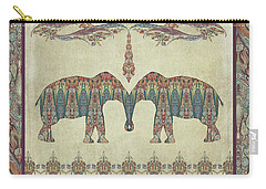 Carry-all Pouch featuring the painting Vintage Elephants Kashmir Paisley Shawl Pattern Artwork by Audrey Jeanne Roberts