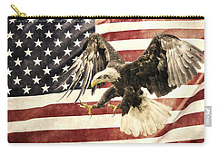 Carry-all Pouch featuring the photograph Vintage Flag With Eagle by Scott Carruthers