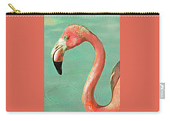 Carry-all Pouch featuring the digital art Vintage Flamingo by Jane Schnetlage