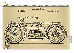 Carry-all Pouch featuring the digital art Vintage Harley-davidson Motorcycle 1919 Patent Artwork by Nikki Smith
