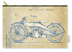 Carry-all Pouch featuring the digital art Vintage Harley-davidson Motorcycle 1924 Patent Artwork by Nikki Smith