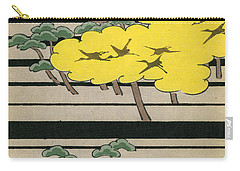 Vintage Japanese Illustration Of An Abstract Forest Landscape With Flying Cranes Carry-all Pouch