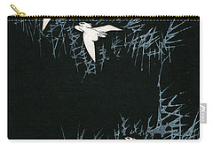 Vintage Japanese Illustration Of Three Cranes Flying In A Night Landscape Carry-all Pouch by Japanese School