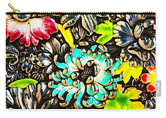 Vintage Japanese Panel With Lilies Chrysanthemums And Peonies Carry-all Pouch