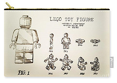 Vintage Lego Toy Figure Patent - Graphite Pencil Sketch Carry-all Pouch