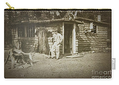 Vintage Log Cabin Carry-all Pouch by Linda Phelps