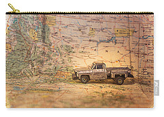 Vintage Map And Truck Carry-all Pouch by Mary Hone