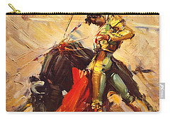 Vintage Mexico Bullfight Travel Poster Carry-all Pouch by George Pedro