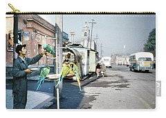 Carry-all Pouch featuring the photograph Vintage Mexico City Man With Parrots by Marilyn Hunt