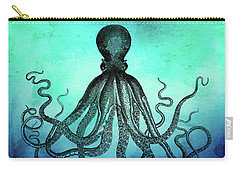 Vintage Octopus On Blue Green Watercolor Carry-all Pouch