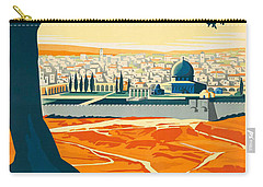 Vintage Palestine Travel Poster Carry-all Pouch by George Pedro