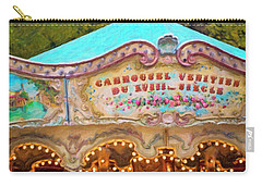 Carry-all Pouch featuring the photograph Vintage Paris Carousel by Melanie Alexandra Price