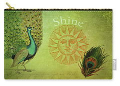 Carry-all Pouch featuring the digital art Vintage Peacock Art by Peggy Collins