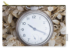 Carry-all Pouch featuring the photograph Vintage Pocket Watch Over Dried Flowers by Edward Fielding