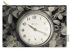 Carry-all Pouch featuring the photograph Vintage Pocket Watch Over Flowers by Edward Fielding