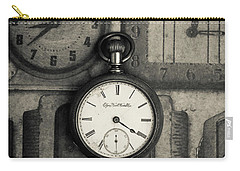 Carry-all Pouch featuring the photograph Vintage Pocket Watch Over Old Clocks by Edward Fielding