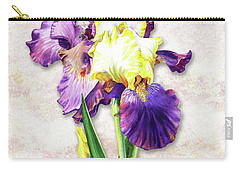 Carry-all Pouch featuring the painting Vintage Purple Watercolor Iris by Irina Sztukowski