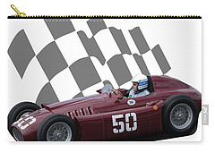 Carry-all Pouch featuring the photograph Vintage Racing Car And Flag 1 by John Colley