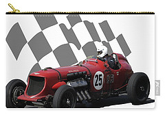 Vintage Racing Car And Flag 3 Carry-all Pouch by John Colley
