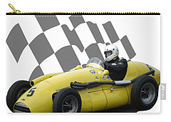 Carry-all Pouch featuring the photograph Vintage Racing Car And Flag 4 by John Colley